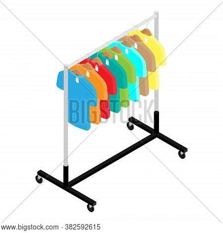 Colorful T-shirt On Hanger On Clothing Wardrobe Rack Fashion Store Isometric View