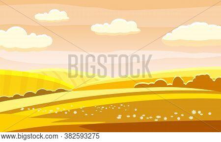 Autumn Landscape Rural Hills Meadows Fields Countryside. Yellow Orange Panorama Horizon. Vector Illu