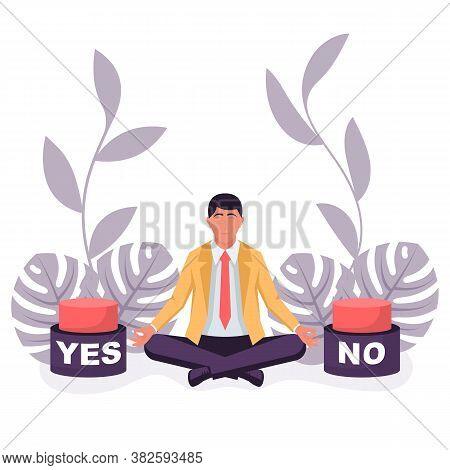 Landing Page Choice Of Yes Or No. Businessman Before A Choice. Decision Business Metaphor. Vector Fl