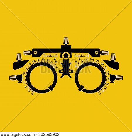 Optometrist Flat Black Silhouette Icon. Eye Test Frame. Vision Test. Check Eyesight. Diopter With Sc