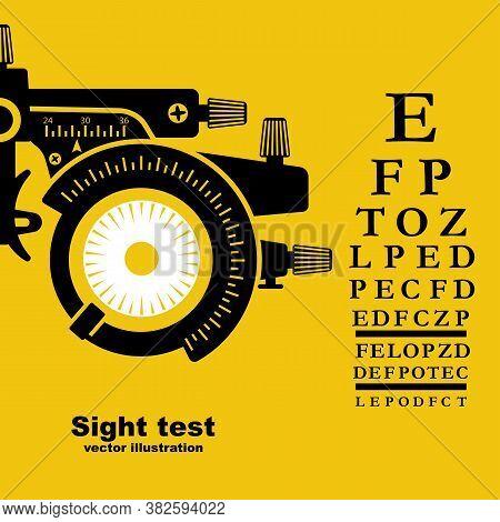 Sight Test. Diagnosis Of Vision. Eye Test Frame. Vision Test. Check Eyesight. Vector Illustration Fl