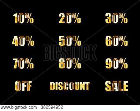 10% 20% 30% 40% 50% 60% 70% 80% 90% Off Discount Sale Gold 3d Rendering Text. Percent Discount Sale