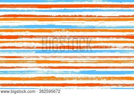 Watercolor Brush Stroke Rough Stripes Vector Seamless Pattern. Stylish Candy Wrap  Sweet Design. Old