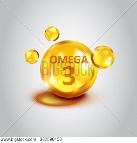 Omega 3 Icon In Flat Style. Pill Capsule Vector Illustration On White Isolated Background. Organic V