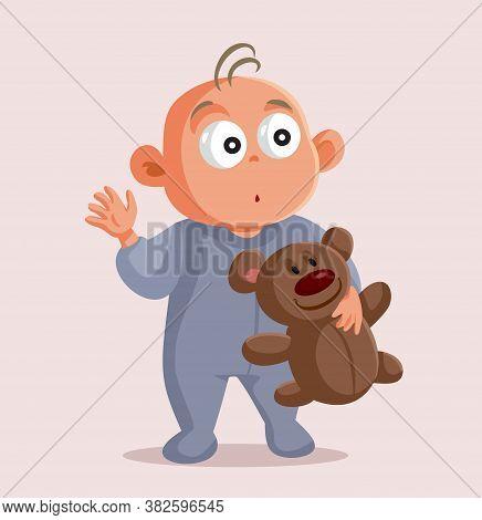 Baby Holding Teddy Bear Vector Cartoon Character