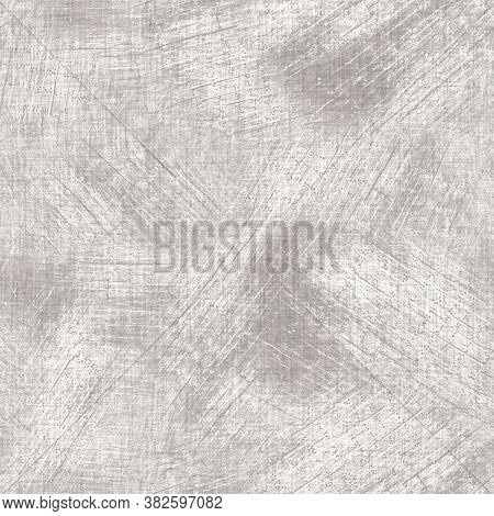 Seamless Gray French Woven Linen Wood Texture Background. Ecru Flax Hemp Fiber Natural Pattern. Orga