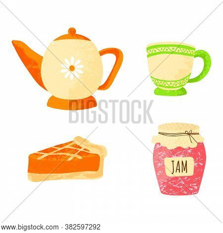 Tea Party Elements Set. Collection With Pot, Teacup, Pie And Jam. Vector Illustration In Flat Cartoo