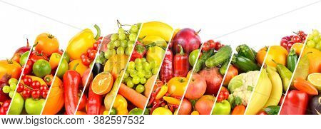 Wide collage of fruits, vegetables and berries separated by sloping lines isolated on white background
