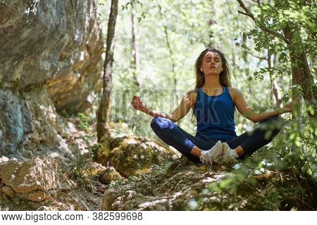 Yoga Time Or Meditation. Contemplation. Lady Meditates On Nature. Full Relaxation. Pensive Mood. Gre