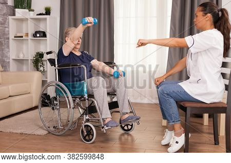 Senior Woman In Wheelchair Doing Physical Rehabilitation With With Doctor. Disabled Handicapped Old