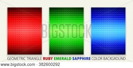 Geometric Shapes Triangle Pyramid Ruby, Emerald, Sapphire Color Background. Poster Design, Vector Il