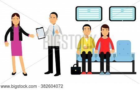 Bank Customers Sitting And Waiting Their Turn And Staff Serving Clients Vector Illustration Set