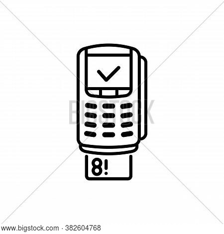 Contactless Payment By Credit Debit Card Via The Bank Terminal Banner. Outline Payment Method Symbol