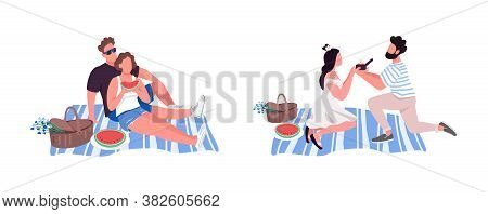 Picnic Flat Color Vector Faceless Character Set. Leisure Activity For Two People. Propose Marriage.