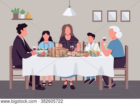 Caucasian Family Dinner Flat Color Vector Illustration. People Eat Meal Together. Holiday Lunch. Rel