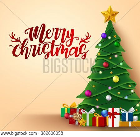 Christmas Tree Vector Background Template Design. Merry Christmas Text With Xmas Tree And Colorful G