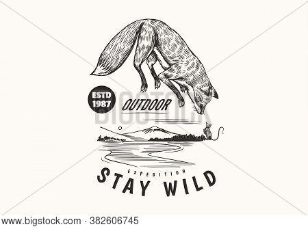 Red Fox Badge. Forest Ginger Wild Animal Label Or Logo. Vector Engraved Hand Drawn Vintage Old Sketc