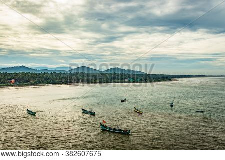 Fishing Boats In The Sea Aerial Shots At Early Morning