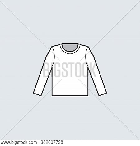 White T-shirt Long Sleeve Icon For Production Clothing, Advertisement, Apparel Textile Use