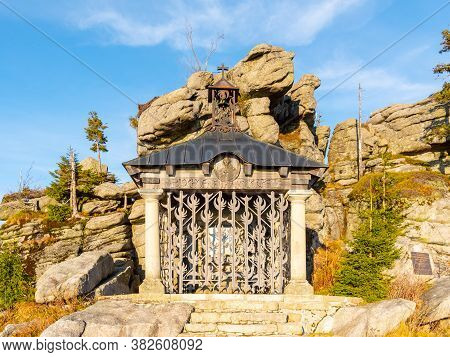 Small Chapel Of Johann Nepomuk Neumann At Hochstein Summit, Bavarian Forest, Germany.