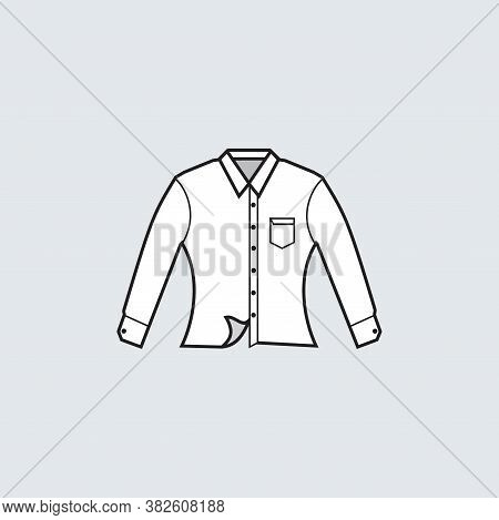 White Collared Formal Cloth Long Sleeve With Pocket Icon - Slim Fit Or Woman Cloth - For Production
