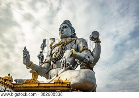 Shiva Statue Isolated At Murdeshwar Temple Close Up Shots From Unique Low Angle
