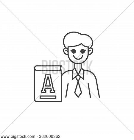 Primary School Teacher Line Icon. Linear Style Sign For Mobile Concept And Web Design. Man Teacher W