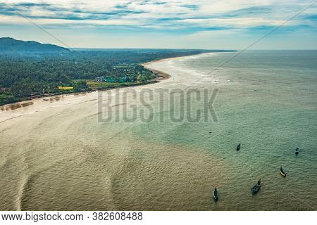 Beach Isolated With Fishing Boats Aerial Shots With Dramatic Sky
