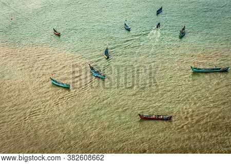 Fishing Boats Isolated Many In Deep Sea Aerial Shots