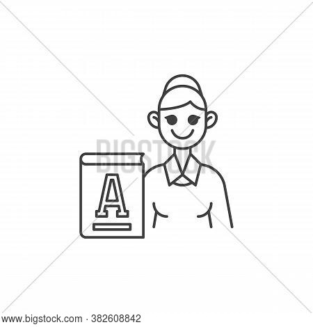 Primary School Teacher Line Icon. Linear Style Sign For Mobile Concept And Web Design. Woman Teacher