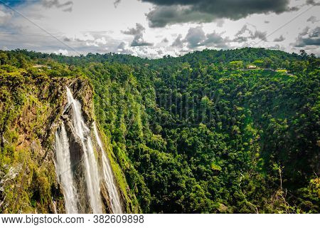 Jog Falls Nestled In Western Ghat Forests From Above Flat Angle Shots