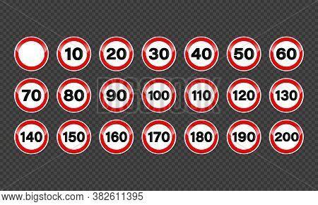 Set Of Speed Limit Signs. Icons, Vector On Isolated Background. Eps 10