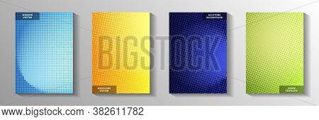 Elegant Point Perforated Halftone Cover Page Templates Vector Series. Digital Poster Faded Halftone