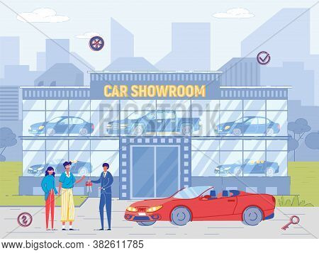 People Buy Luxury Cabriolet At Car Showroom. Dealer Sell Car, Give Key To New Owner. Man And Woman P