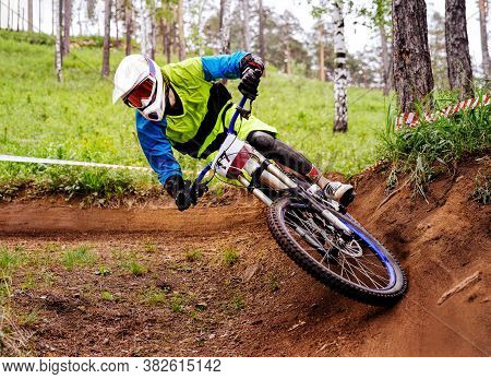 Downhill Athlete Biker Ride Turn Of Earth Trail