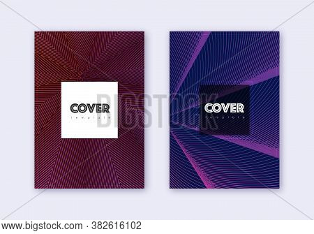Hipster Cover Design Template Set. Violet Abstract Lines On Dark Background. Curious Cover Design. L