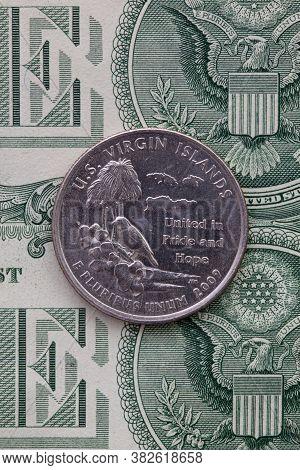 A Quarter Of U.s. Virgin Islands On Us Dollar Bills. Symmetric Composition Of Us Dollar Bills And A