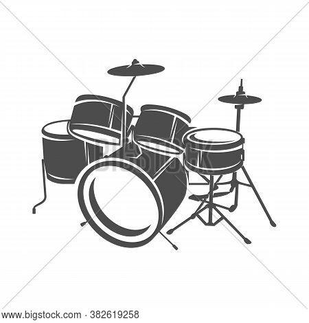 Realistic Drum Design Vector. Silhouette Of Drum. Vector Illustration