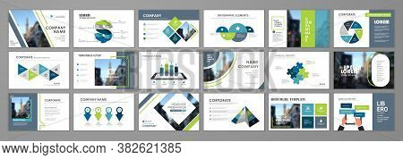 Presentation Slide Layout Background.  Blue And Green Design Brochure Template. Use In Presentation,