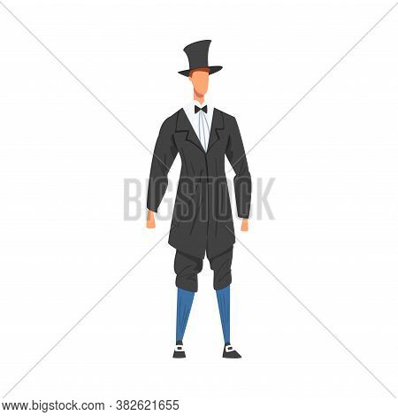 Man In European Clothing, Male Representative Of England Country In Traditional Outfit Of Nation Car