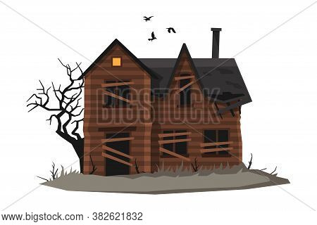 Scary Abandoned Wooden House With Boarded Up Windows And Birds Flying Around, Halloween Haunted Cott
