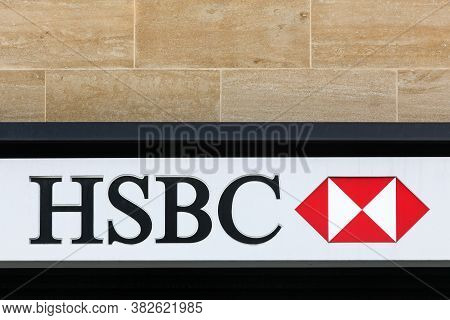 London, United Kingdom - September 25, 2019: Hsbc Logo On A Wall. Hsbc Holdings Is A British Multina