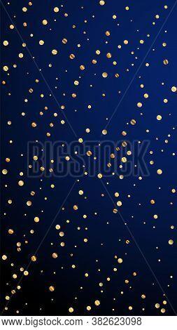 Festive Alluring Confetti. Celebration Stars. Sparse Gold Confetti On Dark Blue Background. Gorgeous