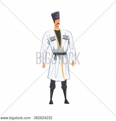 Man In Georgia National Lothing, Male Representative Of Country In Traditional Outfit Of Nation Cart