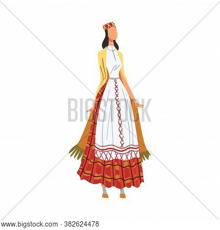 Woman In Byelorussia National Lothing, Female Representative Of Country In Traditional Outfit Of Nat