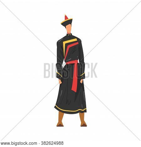 Man In Buryatia National Lothing, Male Representative Of Country In Traditional Outfit Of Nation Car