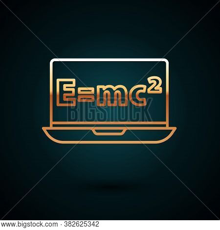 Gold Line Math System Of Equation Solution On Laptop Icon Isolated On Dark Blue Background. E Equals