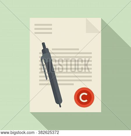 Mission Document Icon. Flat Illustration Of Mission Document Vector Icon For Web Design