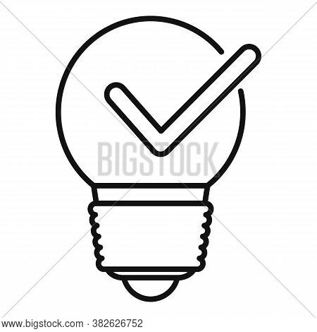Bulb Idea Mission Icon. Outline Bulb Idea Mission Vector Icon For Web Design Isolated On White Backg