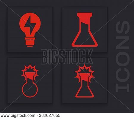 Set Test Tube And Flask, Light Bulb With Lightning, Test Tube And Flask And Test Tube And Flask Icon